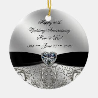 60th Diamond Wedding Anniversary Round Ornament
