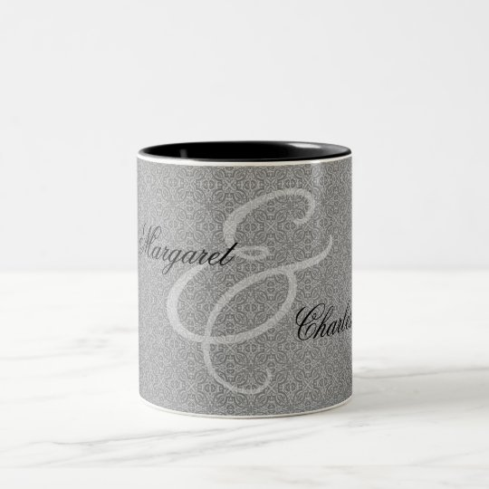 60th Diamond Wedding Anniversary Silver Damask Two-Tone Coffee