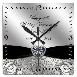 60th Diamond Wedding Anniversary Square Wall Clock
