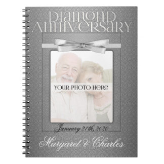 60th Diamond Wedding Annivsersary Guest Book Spiral Note Book