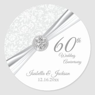 60th Diamond White Wedding Anniversary Classic Round Sticker