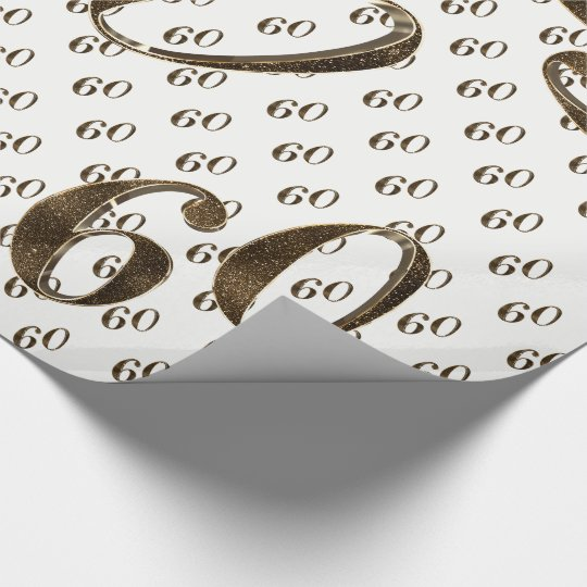 60th Golden Wedding Anniversary Typography Elegant Wrapping Paper