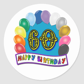 60th Happy Birthday Balloons Merchandise Classic Round Sticker