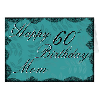 60th Happy Birthday Card - Teal Vintage Lace