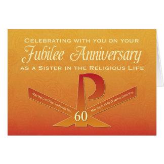60th Jubilee Anniversary Nun Pax Cross, Orange and Card