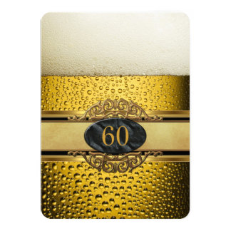 60th Mans Beer Black Gold Birthday Party 11 Cm X 16 Cm Invitation Card