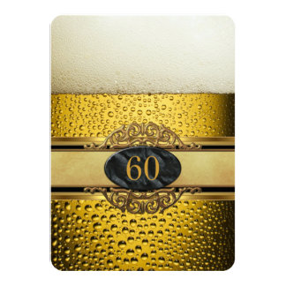 60th Mans Beer Black Gold Birthday Party 4.5x6.25 Paper Invitation Card