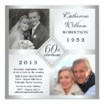 60th Silver Diamond Anniversary Photo Invitations