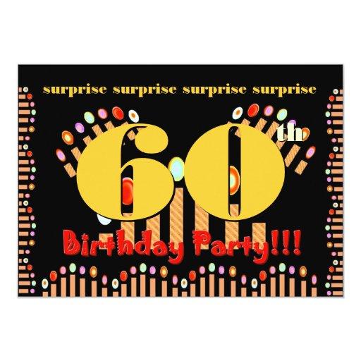 60th surprise birthday party invitation template zazzle. Black Bedroom Furniture Sets. Home Design Ideas