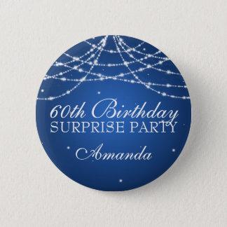 60th Surprise Birthday Party String Stars Blue 6 Cm Round Badge
