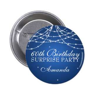 60th Surprise Birthday Party String Stars Blue 6 Cm Round Badge