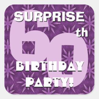 60th SURPRISE Birthday Purple Fireworks  V03 Square Sticker