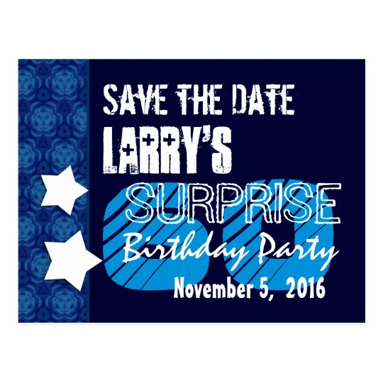 60th Surprise Birthday Save the Date Blue Stars Postcard