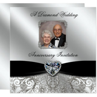 60th Wedding Anniversary 5.25x5.25 Photo Invite