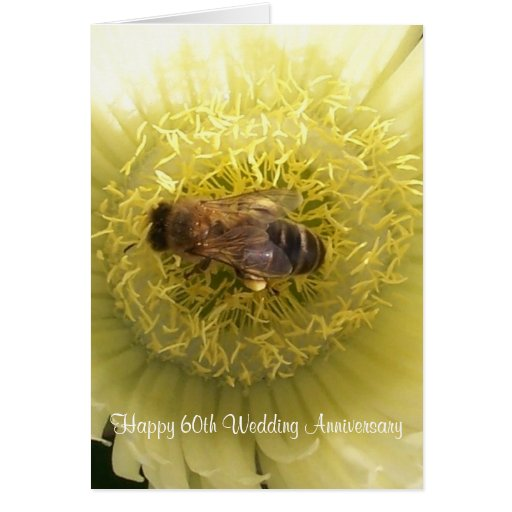 60th wedding anniversary bee on yellow flower zazzle. Black Bedroom Furniture Sets. Home Design Ideas
