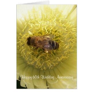 60th Wedding Anniversary Bee On Yellow Flower Card