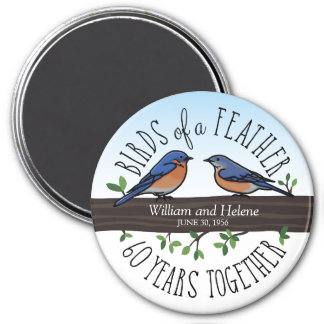 60th Wedding Anniversary, Bluebirds of a Feather 7.5 Cm Round Magnet