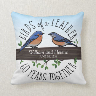 60th Wedding Anniversary, Bluebirds of a Feather Cushion