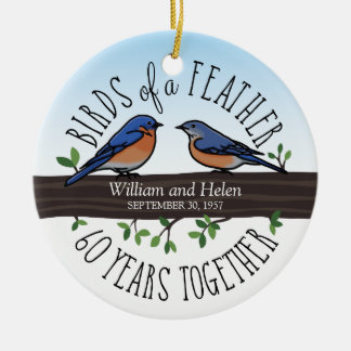 60th Wedding Anniversary, Bluebirds of a Feather Round Ceramic Decoration