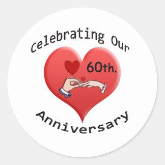 60th. Wedding Anniversary Classic Round Sticker
