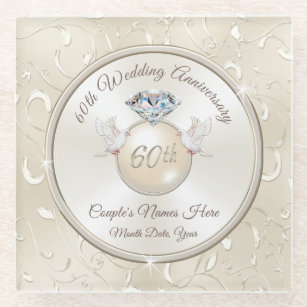 60th Wedding Anniversary Gift Ideas for Parents Glass Coaster