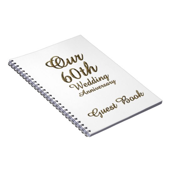 60th Wedding Anniversary Guest Book Gold White Note