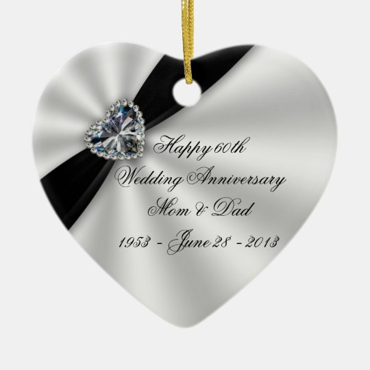 60th Wedding Anniversary Heart Ornament
