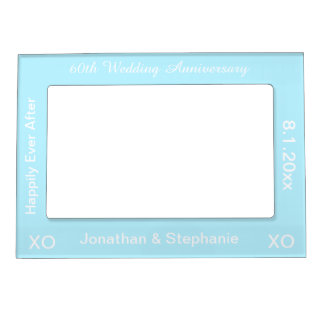 60th Wedding Anniversary Light Blue Photo Frame Picture Frame Magnet