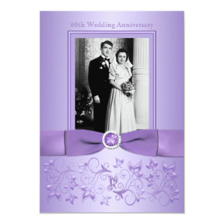 60th Wedding Anniversary Lilac Floral Invitation
