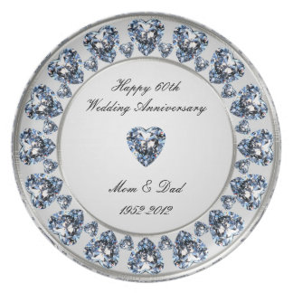 60th Wedding Anniversary Melamine Plate
