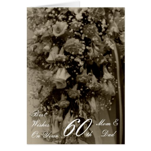 60th Wedding Anniversary Mom & Dad Antique Bouquet Cards