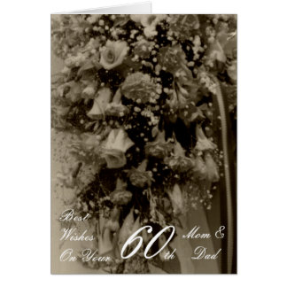 60th Wedding Anniversary Mom & Dad Antique Bouquet Greeting Card