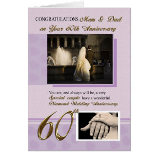 60th Wedding Anniversary, Mom & Dad Card