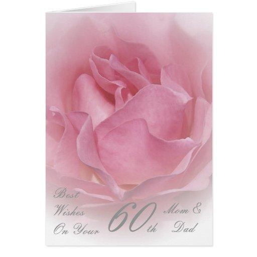 60th Wedding Anniversary Mom & Dad Pink Rose Cards