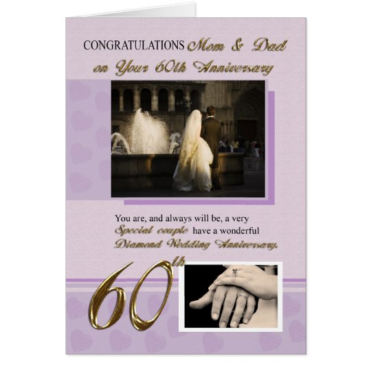 60th Wedding Anniversary, Mum & Dad Card