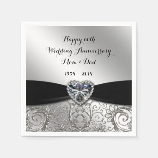 60th Wedding Anniversary Paper Napkins Disposable Serviette