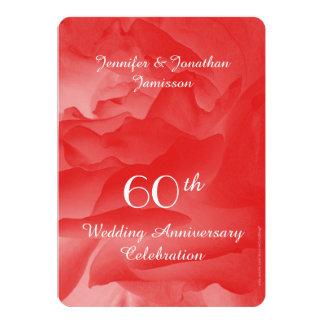 60th Wedding Anniversary Party Invitation, Rose 13 Cm X 18 Cm Invitation Card