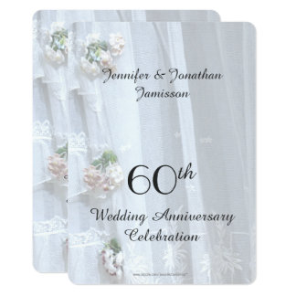 60th Wedding Anniversary Party, Vintage Lace 13 Cm X 18 Cm Invitation Card