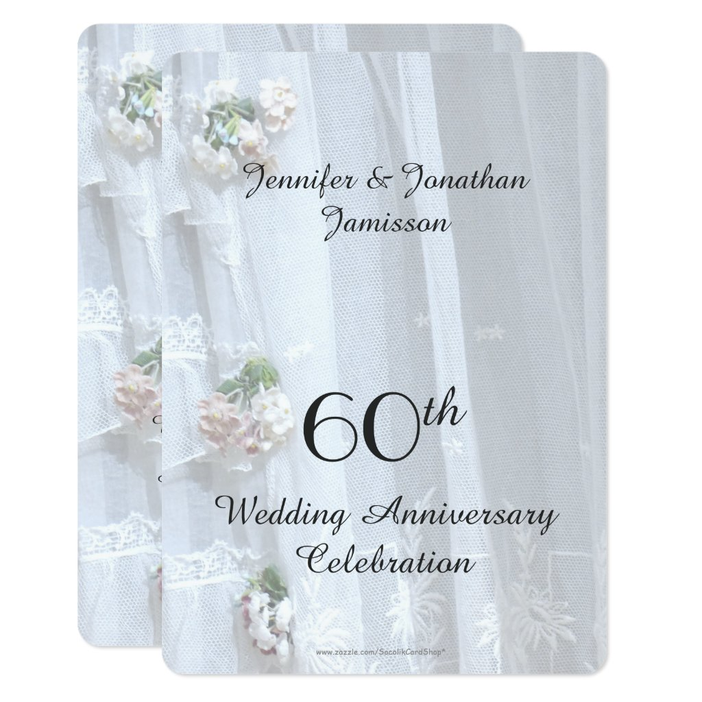 60th Wedding Anniversary Party, Vintage Lace Invitation