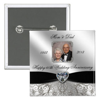 60th Wedding Anniversary Photo Button