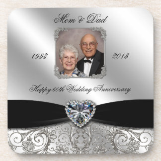 60th Wedding Anniversary Photo Coaster