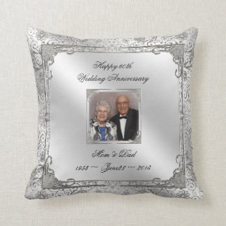 60th Wedding Anniversary Photo Throw Pillow Throw Cushions