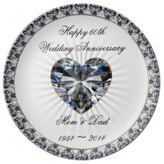 Diamond Wedding Anniversary Gift Ideas Uk : Diamond Wedding Anniversary Plates Zazzle.co.uk