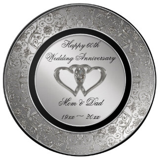 60th Wedding Anniversary Porcelain Plate