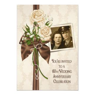 60th Wedding Anniversary Roses 13 Cm X 18 Cm Invitation Card