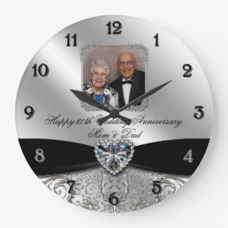 60th Wedding Anniversary Round Photo Wall Clock
