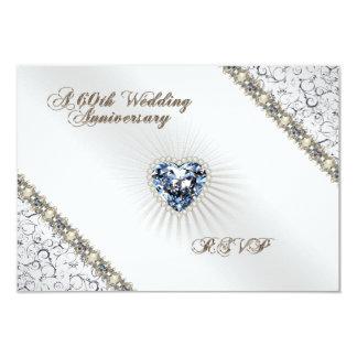 "60th Wedding Anniversary RSVP Card 3.5"" X 5"" Invitation Card"
