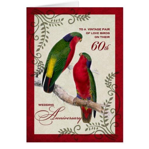 60th Wedding Anniversary Vintage Lorikeet Parrots Greeting Card