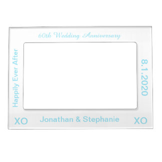 60th Wedding Anniversary White Blue Photo Frame
