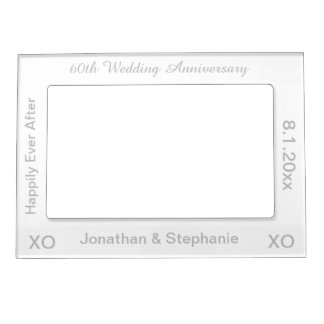 60th Wedding Anniversary White Silver Photo Frame